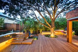 outdoor terrace with wooden floors and a large tree in the right