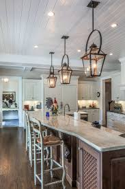 Country Kitchen Island Lighting Copper Lanterns With Black Bails 15 Foot Island Traditional