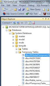 how to view table in sql temporary tables in sql server 2012