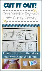 printable preschool cutting activities cut it out rhyming and cutting activity identify the words