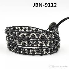 silver bracelet with black stones images 2018 charms leather and silver bracelets handmade braided leather jpg
