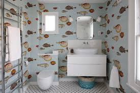 bathroom wallpaper designs fish wallpaper houzz
