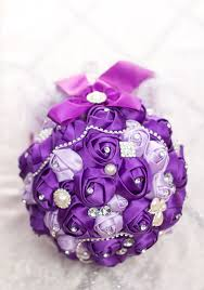 handmade purple wedding bouquets rose bride hand bouquets diamond