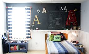 kids room blue boys bedroom design with starry curtain and