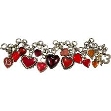 heart charm bracelet sterling silver images Rare red heart charm bracelet sterling silver guilloche enamel jpg