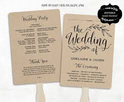 wedding program fan template printable wedding program template rustic wedding fan program