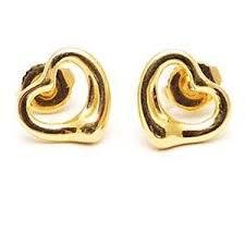 18k gold earrings co elsa peretti open heart stud earrings solid 18k