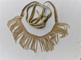 colette malouf gold fringe bib wedding necklace colette malouf signed