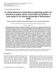Performance Appraisal Report Sample A Critical Analysis Of Performance Appraisal System For Teachers