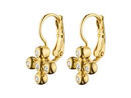 gold erring aikas gold earring hook earrings created with facet cut