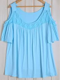 baby blue blouse lace design cold shoulder plus size blouse addicted2fashion