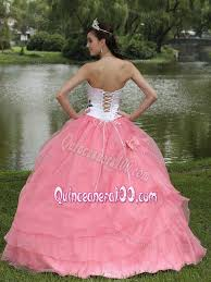 beautiful quinceanera dresses pink and white embroidery strapless quince dresses with bow