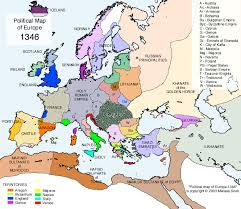 map or europe maps of the arrival and spread of the plague in europe