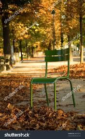 Chair In Garden Autumn Paris Typical Parisian Park Chair Stock Photo 38875573