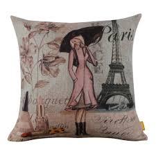 Eiffel Tower Accessories Amazon Com Linkwell Paris Lady Eiffel Tower Perfume Cushion Cover
