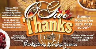 thanksgiving worship and free community dinner at frederick