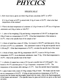 Specific Heat Table Fascinating Specific Heat Capacity Mixture Problems Worksheet