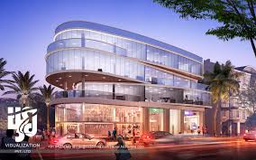 3d modern shopping mall exterior elevation 3d rendering by hs3d
