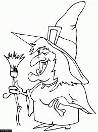 happy halloween broom and witch coloring page for kids