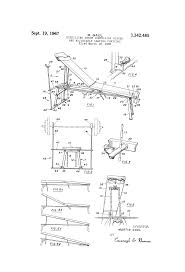 patent us3342485 exercising bench comprising hinged and