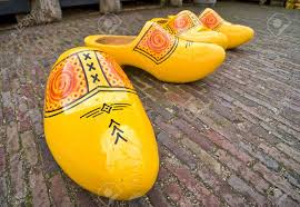 bright yellow wooden clogs traditional holland u0027s shoes stock