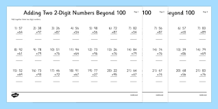 adding two 2 digit numbers beyond 100 activity sheet column
