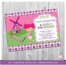custom invites miniature golf invitation printable personalized girl mini golf