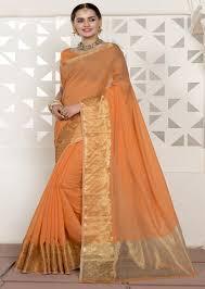 golden orange color ivimal chanderi silk light orange color mix with golden border