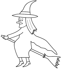 witch on broom coloring page halloween