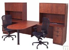 Computer Desk For 2 Cherry Laminate 2 Person Peninsula Workstation