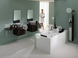 wall color floating vanity with vessel sinks for spa like feel