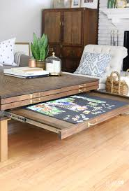diy coffee table with pullouts coffee puzzle table and living rooms