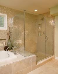 bathroom tub and shower ideas like the shimmer in the tile and combining a seat inside the