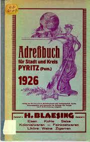 Pyritz Kreis Pyritz Pommern Family History Prussia Altes Adressbuch 1926 Family History Family History