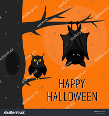 cute happy halloween images happy halloween card bat hanging on stock vector 463432280
