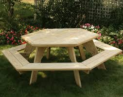 Wooden Picnic Tables With Separate Benches Treated Pine Hexagon Picnic Table