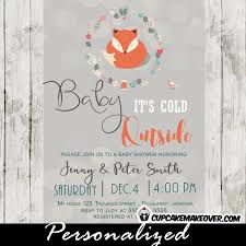woodland baby shower invitations fox baby shower invitations winter woodland baby it s cold