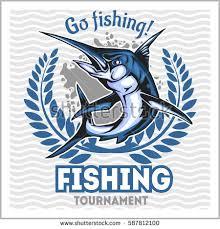 fishing emblem blue marlin badge design stock vector 587812100