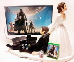 gamer wedding cake topper wedding cake topper destiny custom gamer xbox one ps4