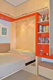 murphy bed for small room ideas and orange open book shelves