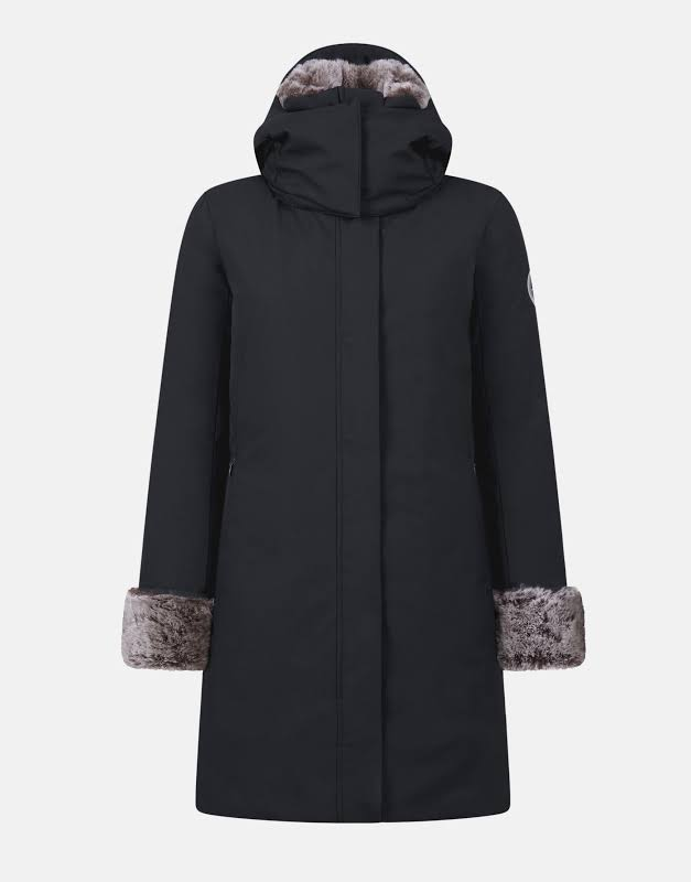 Save The Duck Smeg Hooded Parka w/ Faux Fur Blk Coat S4280W-SMEG9-1470 Medium