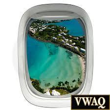 airplane view 3d window decal green island beach scene
