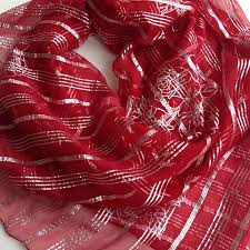 Gift For Wife Red Silk Scarf Sparkly Red Scarf Gift For Wife Silk Square 40x40