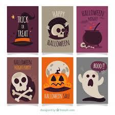 set of six vintage halloween cards vector free download