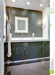 Dark Gray Bathroom Vanity Dark Bathroom Vanity Cabinet With White Top Stock Photo Image
