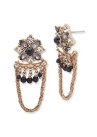 swag earrings marchesa marchesa 2mm 3mm 4mm black faux pearl swag earrings