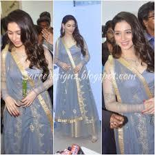 blue ash color tamanna in ash color lehenga saree designz