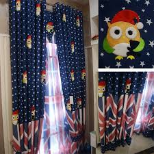 navy blue star cute window curtains for kids room