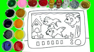 drawing animal television fish tank coloring watercolor coloring
