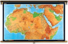 Blank African Map by North Africa Extra Large Physical Map On Spring Roller
